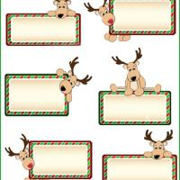 can also print this on a sticker paper and pre-cut each reindeer tags ...