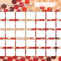 Printable Retro Colored Dots Blank Monthly Calendar - Printable Blank Calendars - Free Printable Calendars