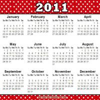 Printable Retro Dotted 2011 Calendar - Printable Weekly Calendar - Free Printable Calendars