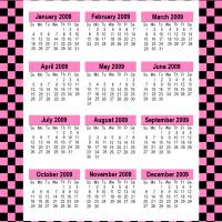 Printable Retro Pink 2009 Calendar - Printable Calendar Pages - Free Printable Calendars