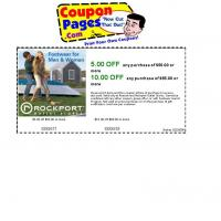 Rockport Save $5 on Purchase of $50 or $10 on Purchase of $65