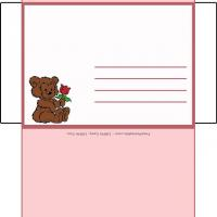 Printable Roses Envelope With Hugging Bears - Printable Card Maker - Free Printable Cards