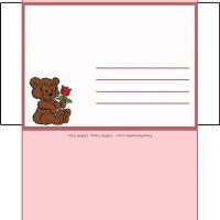 Roses Envelope With Hugging Bears
