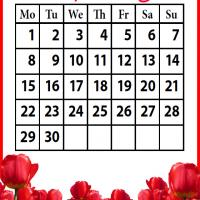 Printable Roses Field April 2013 - Printable Monthly Calendars - Free Printable Calendars
