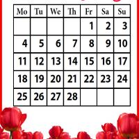 Printable Roses Field February 2013 - Printable Monthly Calendars - Free Printable Calendars