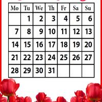 Printable Roses Field January 2013 - Printable Monthly Calendars - Free Printable Calendars
