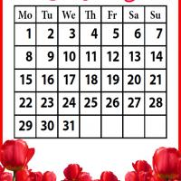 Printable Roses Field July 2013 - Printable Monthly Calendars - Free Printable Calendars