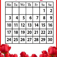 Printable Roses Field June 2013 - Printable Monthly Calendars - Free Printable Calendars