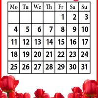 Printable Roses Field March 2013 - Printable Monthly Calendars - Free Printable Calendars