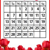 Printable Roses Field May 2013 - Printable Monthly Calendars - Free Printable Calendars