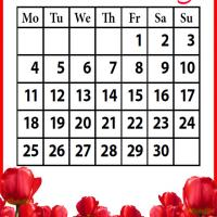 Printable Roses Field November 2013 - Printable Monthly Calendars - Free Printable Calendars