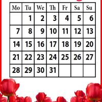 Printable Roses Field October 2013 - Printable Monthly Calendars - Free Printable Calendars