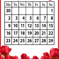 Printable Roses Field September 2013 - Printable Monthly Calendars - Free Printable Calendars