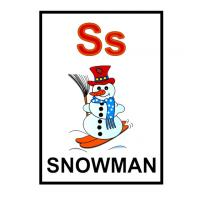 Printable S is for Snowman Flash Card - Printable Flash Cards - Free Printable Lessons