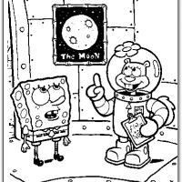 Printable Sandy Giving Spongebob Lessons About The Moon - Printable Spongebob - Free Printable Coloring Pages