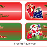 Santa and Gifts Christmas Labels