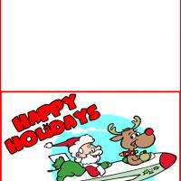 Printable Santa and Rudolph the Red Nose Reindeer on an Airplane - Printable Christmas Cards - Free Printable Cards