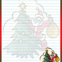 Printable Santa Behind the Tree Stationary - Printable Stationary - Free Printable Activities