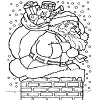 Printable Santa Claus on the Chimney - Printable Coloring Sheets - Free Printable Coloring Pages