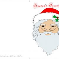 Printable Santa Claus Season's Greetings Card - Printable Christmas Cards - Free Printable Cards