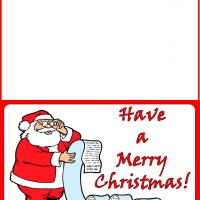 Printable Santa Reading His List Card - Printable Christmas Cards - Free Printable Cards