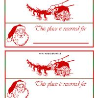 Printable Santa Sleigh Place Card - Printable Place Cards - Free Printable Cards