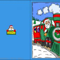 Printable Santa's Christmas Train - Printable Christmas Cards - Free Printable Cards