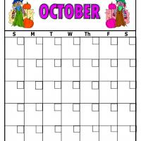 Printable Scarecrow For October Blank Calendar - Printable Blank Calendars - Free Printable Calendars