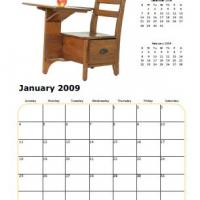 Printable School Chair January 2009 Calendar - Printable Monthly Calendars - Free Printable Calendars