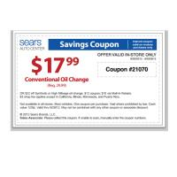 Sears Auto Conentional Oil Change Coupon