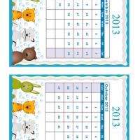 September - October Cartoon Animals 2013 Calendars