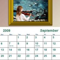 Printable September 2009 Oil Painting Calendar - Printable Monthly Calendars - Free Printable Calendars