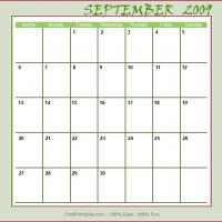 Printable September 2009 Planner Calendar - Printable Monthly Calendars - Free Printable Calendars
