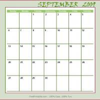 September 2009 Planner Calendar