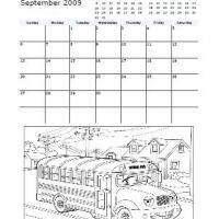 Printable September 2009 School Bus Coloring Calendar - Printable Monthly Calendars - Free Printable Calendars