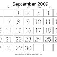 Printable September 2009 Writing Calendar - Printable Calendar Pages - Free Printable Calendars