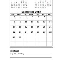 September 2013 Calendar with Holidays
