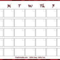 Simple Burgundy Bordered Blank Monthly Calendar