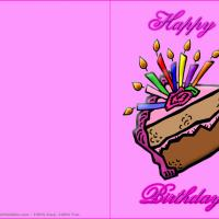 Printable Slice Of Cake With Candles - Printable Birthday Cards - Free Printable Cards