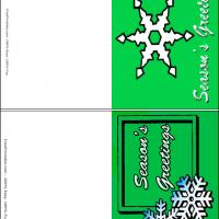 Printable Snowflakes In Green Background - Printable Gift Cards - Free Printable Cards