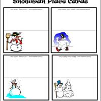 Printable Snowman Place Cards - Printable Place Cards - Free Printable Cards