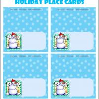Printable Snowman With Red Bonnet and Scarf - Printable Place Cards - Free Printable Cards