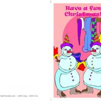 Printable Snowmen Clothes Line Christmas Card - Printable Christmas Cards - Free Printable Cards