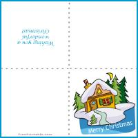 Printable Snowy Christmas House - Printable Christmas Cards - Free Printable Cards