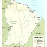 South America- French Guiana  Polititcal Map