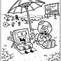Printable Spongebob And Sandy On The Beach - Printable Spongebob - Free Printable Coloring Pages