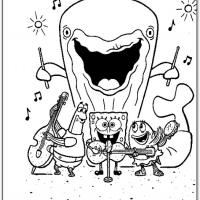 Printable Spongebob Singing With The Band - Printable Spongebob - Free Printable Coloring Pages