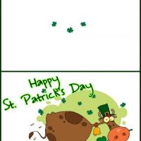 Printable St. Patrick's Cow Celebrating - Printable Greeting Cards - Free Printable Cards