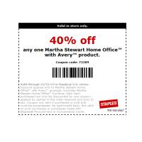 Staples 40% Off Martha Stewart Home Office with Avery Product