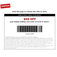 Staples $50 Off Deluxe Holiday Card Order